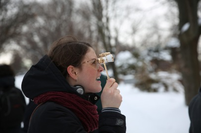 Genna Buck and her handy opera glasses. © Lance McMillan